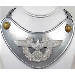 GERMAN NAZI POLICE GORGET W/ NECK CHAIN