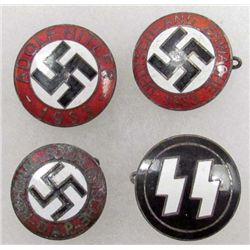 LOT OF 4 GERMAN NAZI SS & NSDAP ENAMELED PARTY BADGES