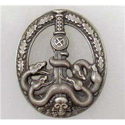 RARE GERMAN NAZI SILVER ANTI PARTISAN BADGE