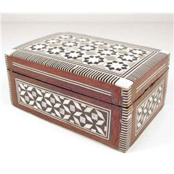 WOODEN BOX INLAID WITH MOTHER OF PEARL/SHELLS