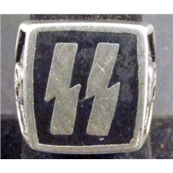 GERMAN NAZI WAFFEN SS OFFICERS LIGHTNING BOLT RING