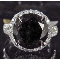 14K WHITE GOLD LADIES BLACK AND WHITE DIAMOND RING - SIZE 7.25