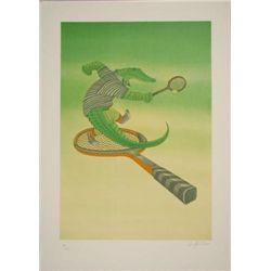 Fabulous Funny ALLIGATOR TENNIS Signed LE Art Print