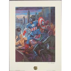 Tom Palmer Signed Print Captain America Flexing Muscles
