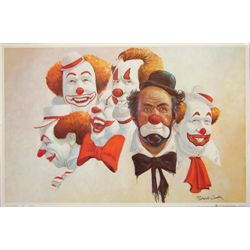 Delightful Robert Owen Colorful Clown Art BUBANK SIX