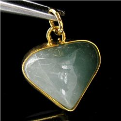 15twc Green Jade Heart Gold Vermeil Pendant (JEW-3596)