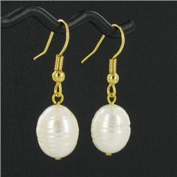 Saltwater Baroque White Pearl Earrings (JEW-250J)