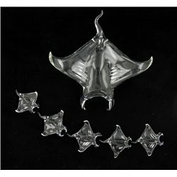 Handcrafted Glass Stingray Mom & Kids (DEC-387)