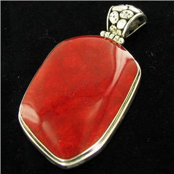 75twc Red Coral Sterling Pendant (JEW-3432)