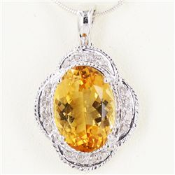 18.15twc Citrine Diamond 14k Gold Pendant (JEW-3380)