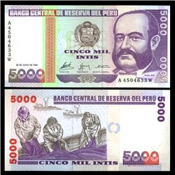 1988 Peru 5000 Intis Crisp Uncirculated Note (CUR-05844)