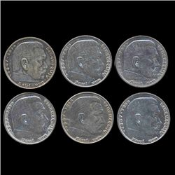 1936-39 Nazi Germany 5 Mark Hi Grade 6 Pcs (COI-8212)