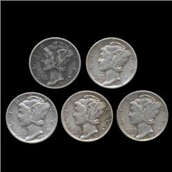 1935 Mercury Dimes Hi Grade Lot of 5 (COI-8453)