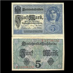 1917 Germany 5 Mark Note Hi Grade Rare (CUR-05656)