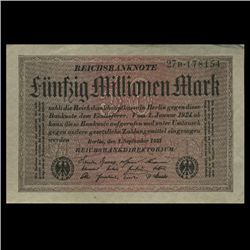 1923 Germany 50m Mark Crisp Uncirculated Note (CUR-05848)