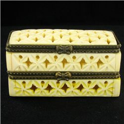 Chinese Handcarved Bone Double Gem Box (CLB-855)
