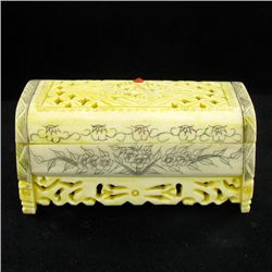 Chinese Handcarved Bone Gem Box (CLB-854)