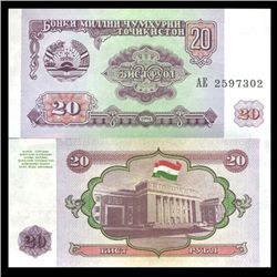 1994 Tajikistan 20 Ruble Crisp Uncirculated Note (CUR-06111)