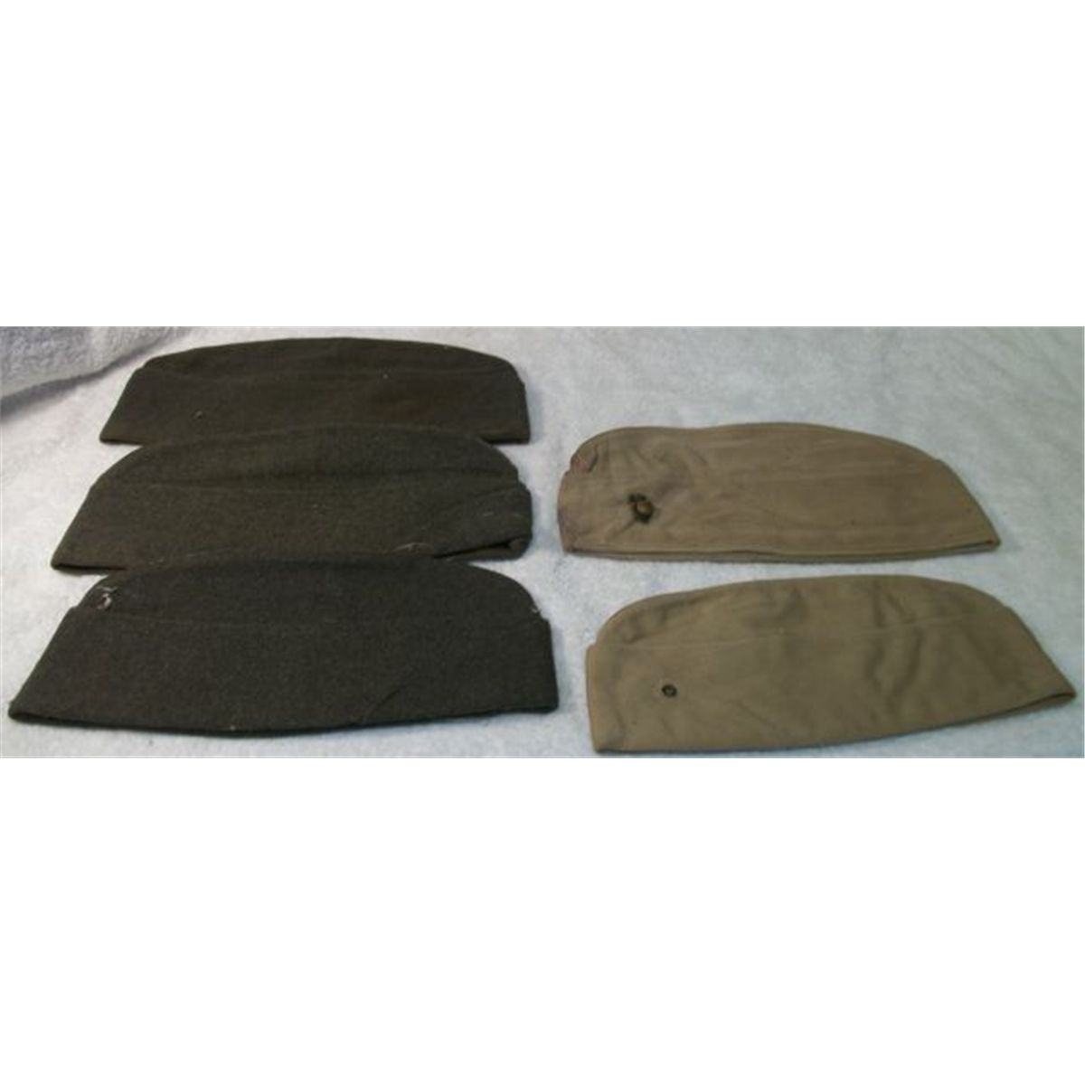 3 wool wwii 2 khaki wwii army garrison covers one with usmc pin