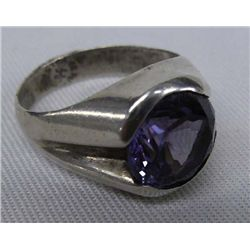 Alexandrite Stone Ring, 8.5 Carats Sterling Silver