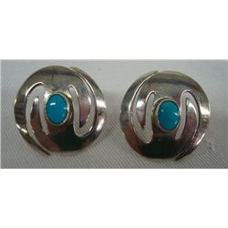 Navajo ''Whirlwind'' Turquoise & Sterling Earrings