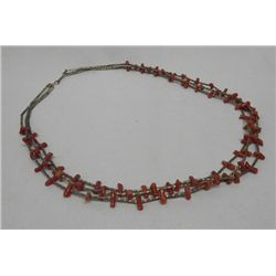 3 Strand Sterling Coral Necklace