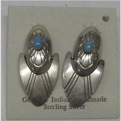 Navajo Silver Turquoise Pierced Earrings