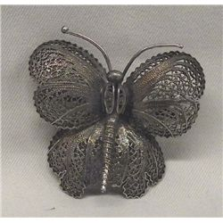 Vintage Portugal Filigree Silver Butterfly Pin