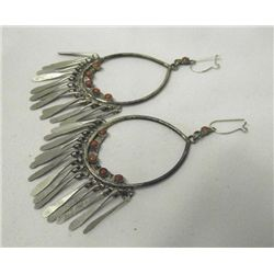 1940s Native American Navajo Coral Hoop Earrings