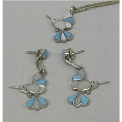 Zuni Hummingbird Necklace & Earring Set