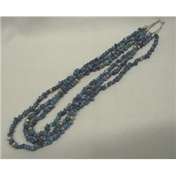 3 Strand Navajo Silver Turquoise Nugget Necklace