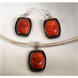 Coral Necklace and Earrings Set Hallmark MC