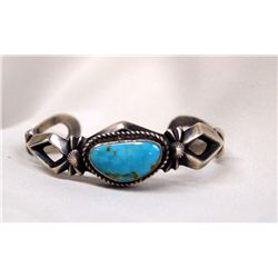 Navajo Silver and Turquoise Bracelet Hallmark LM
