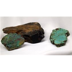 Large Turquoise & Malachite Nuggets, Jet Specimen