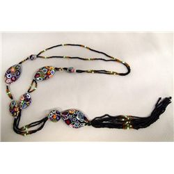 Necklace of Victorian Seed Beads With Millefiori