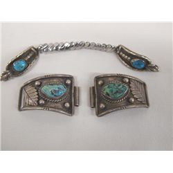 Vintage Navajo Turquoise Silver Watch Tips