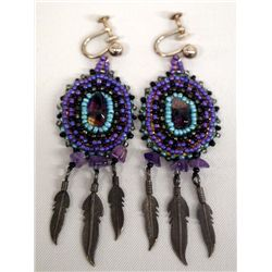 Beaded Sterling Silver Southwestern Earrings