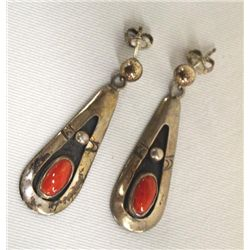 Vintage Navajo Sterling Silver Coral Earrings