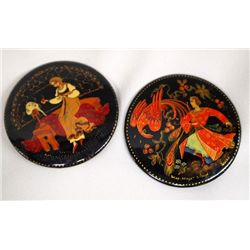Two Russian Hand Painted Lacquered Pins