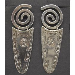 Navajo Stamped Sterling Silver Earrings