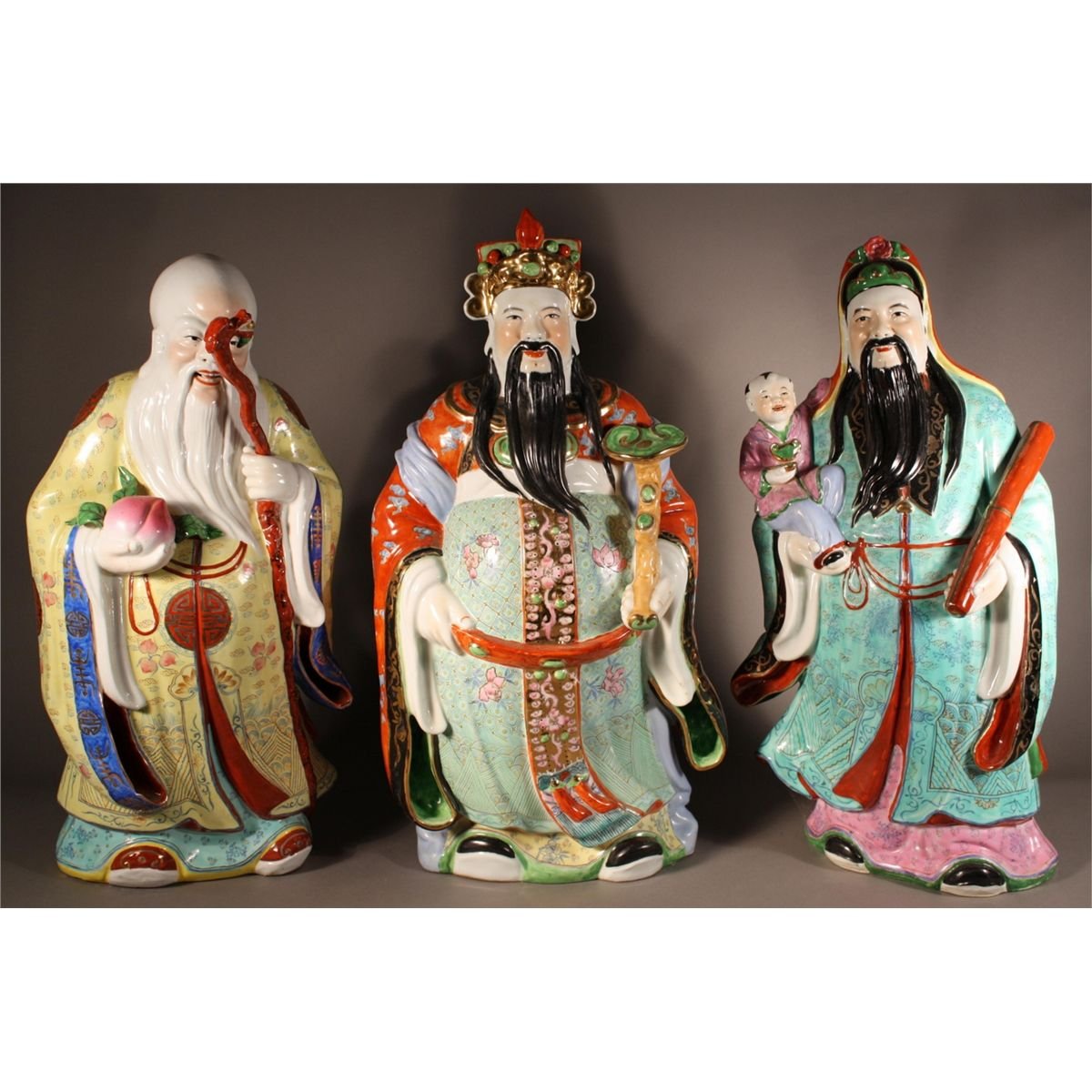 Large Set of Three Chinese Porcelain Immortals
