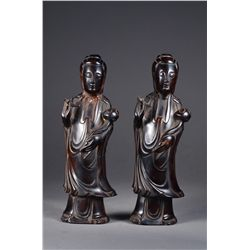 Pair Chinese Carved Guanyin Sculptures