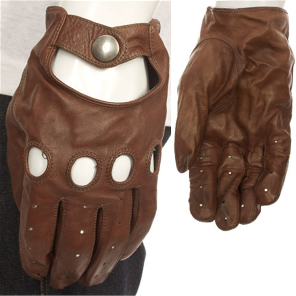 Leather driving gloves from drive - Naglo Mens Leather Gloves Drive Fingerless Sheepskin Mittens Cycling Motorcycle Glove Black Brown Men Driving
