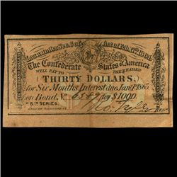 1865 Confederate $30 Bond Coupon  (COI-3085B)