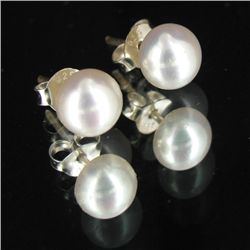 White Saltwater Pearl Stud Earrings (JEW-3640)