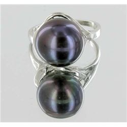 Black Iridescent S. Sea Saltwater Pearl Ring (JEW-1828)