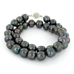 Saltwater Baroque Black Pearl Necklace (JEW-250D)