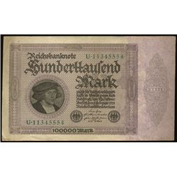 1923 Germany 100000 Mark Hi Grade  (COI-1335)