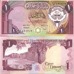 1991 Kuwait Scarce 1 Dinar Crisp Unc Note (COI-3711)