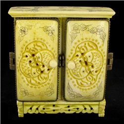 Chinese Handcarved Bone Double Gem Box (CLB-845)